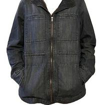 Womens Gap Denim Utility Jacket Zip Front Large  Photo