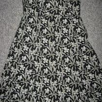 Womens Gap Floral Dress Size Small Stretch Strapless Black Ivory Photo