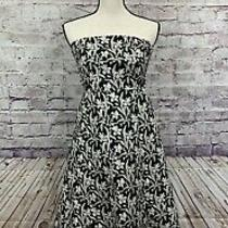 Womens Gap Stretch Floral Strapless Dress Black White Fit and Flare Sz 2 Cotton Photo