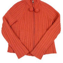 Womens  Gap  Xs Orange Cable Knit Lambs Wool Sweater Cardigan Photo