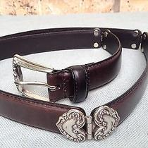 Womens Genuine Fossil Leather Hinged Belt Silver Heart Bt7084001 Dk Brown 29-33