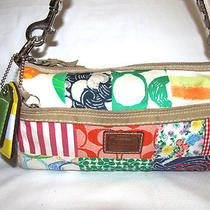 Womens Girls Coach Signature Patchwork Barrel Hobo Shoulder Bag Purse Photo