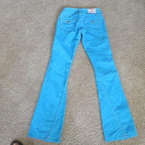 Womens/girls True Religion Bright Aqua Corduroy Jeans Size 25/33 Photo