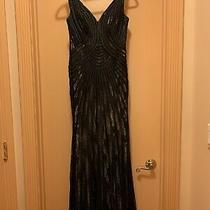 Womens Gown Dress Basix Black Label Size 6 Black/beige Excellent Condition Photo