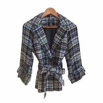 Womens Grace Elements 10 Black Blue Green Plaid Short Trench Style Jacket Photo