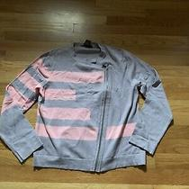 Womens Grace Elements Side Zip Cardigan Sweater Pink & Gray Striped Guc Large Photo