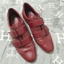 Womens Gucci Leather Canvas Sneakers 37 1/2  Wine Red  Photo