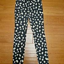 Womens Guess 1981 Skinny Power Jeans Sz 26 Black Yellow Daisy Photo