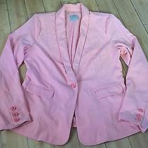 Womens Guess Blazer Peach Blush Pink One Button Blazer Sport Coat Dress Jacket Photo