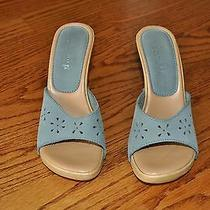 Womens Guess Blue Leather Shoes Heels Open Toe Size 6 M Nice Made in Italy Photo
