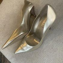 Womens Guess Gold Leather High Heels Stilettos 6.5 Shoes Photo