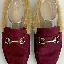 Womens Guess Kandeez Mules Size 9.5 Faux Fur Burgundy Horsebit Shoes Slides Photo