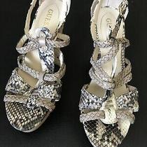 Womens Guess Snake Sandals Sz 7.5 Wedge Cork Heel Buckle Photo