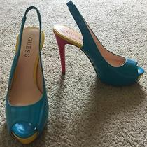 Womens Guess Wgpolly Slingback Peep Toe Heels - Teal Blue/pink/yellow Size 6 Photo
