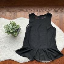 Womens h&m Black Studded Semi-Sheer Neckline Peplum Sleeveless Tank Top Size 4 Photo