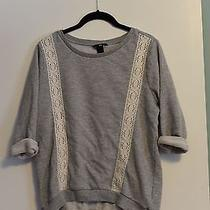 Womens h&m Gray Sweater Sweatshirt With Lace Detail Size Small Photo