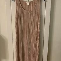 Womens h&m Rose Gold Pink Crinkle Midi Dress Size S Photo