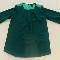 Womens h&m Size 4 Teal Aqua Blouse Top Shirt Chiffon Sea Throgh Chic Classy Sexy Photo