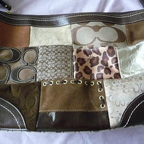 Womens Handbag Coach Brown Patchwork Leather & Logo Canvas Large Photo