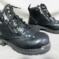 Womens Harley Davidson Black Leather Zipper Motorcycle Ankle Boots Size 7 Photo