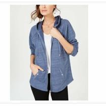 Womens Hoodie Jacket Style & Co Zip-Front New Uniform Blue Kangaroo Pocket Xs Photo