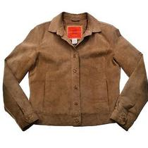 Womens Isaac Mizrahi Beige Suede Leather Western Shirt Jac Coat Jacket Sz S Photo