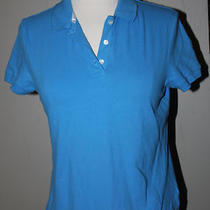 Womens J. Crew Aqua 3-Button Polo Size Medium 93% Cotton 7% Spandex  Photo