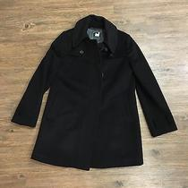 Womens J. Crew Black Mid Hip Length 100% Wool Trench Peacoat Jacket (M) 8 Photo