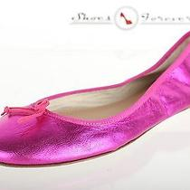 Womens J. Crew Stylish Metallic Pink Leather Ballet Flats Shoes Sz. 7.5 New Photo