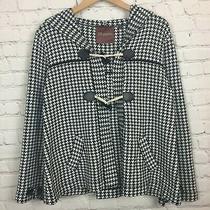 Womens Jacket Blazer Black White Herringbone Hood Stretch 525 America Medium Photo