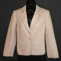Womens Jacket Express Pink Striped Lined Fitted Cropped Sz 2 Photo