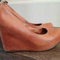 Womens Jeffrey Campbell California Adelaide Leather Wedge Heels Size 7.5 Stylish Photo