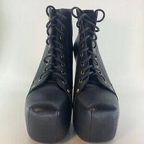 Womens Jeffrey Campbell Lita Black Leather Platform Boots Booties Sz 8 Photo
