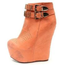 Womens Jeffrey Campbell Peach Leather Wedge Booties/ Shoes W/studs Sz. 7.5 Photo