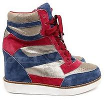 Womens Jeffrey Campbell Red Blue Suede High Top Sneakers Wedges Venice 6 200  Photo