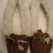 Womens Jessica Simpson Micro Suede Cinnamon Moccasin Slippers L or Xl Photo