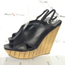 Womens Jessica Simpson Stylish Black Leather Sandals Wedges Shoes sz.7.5b Photo