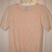 Womens Jrs Forever 21 Blush Pink Lace Front Short Sleeve Sweater Small Photo
