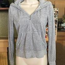 Womens Juicy Couture Gray Hoodie Front Zip Sweat Jacket-Size M Photo