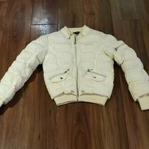 Womens/juniors Guess Jeans Full Zip Puffer Coat Sz Small Ivory Zippered Pockets  Photo