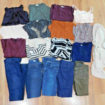 Womens Juniors Huge Clothing Lot of 18 Size Small S 27 Tops Jeans 7fam Ae Gap Photo