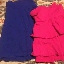 Womens Juniors Lot of 2 Skirts 1 Blue American Eagle 1 Pink Express Size L Photo