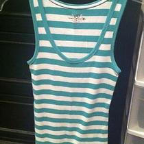 Womens Juniors Medium Blue Aqua and White Striped Tank Top Photo