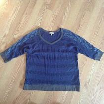 Womens Juniors One World Live and Let Live Sweater-Sz Large-Blue Lace Nice Photo