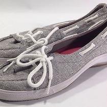 Womens Keds Sport Silver Fabric Boat Shoes Lace Up Flats Euc Shoe Size 6 Wf44313 Photo