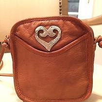 Womens Kenneth Cole Leather Small Crossbody Bag Burnt Orange Caramel Brown Photo