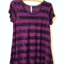 Womens Kensie Purple & Black Striped Short Sleeve Oversized Shirt Size S Photo