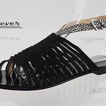 Womens l.a.m.b. Black Snake Print Leather Ankle Strap Sandals Sz. 6.5 M Photo