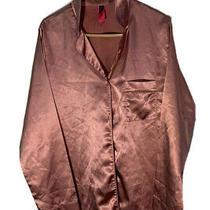 Womens La Senza Blush Pink Satin Long Sleeve Button Up Pajama Shirt Size Lg Nwt Photo