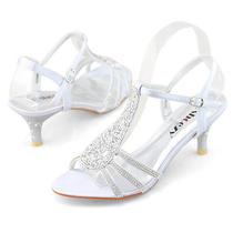 Womens Ladies Dress Low Heels Silver Prom Shining Wedding Shoes Sandals Us 9 Photo
